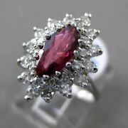 Estate Large 2.16ct Diamond And Aaa Ruby 18kt White Gold Elongated Engagement Ring