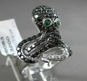 Estate Large 1.49ct Black And White Diamond And Emerald 14kt White Gold Octopus Ring
