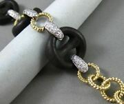 Estate .90ct Diamond 14kt White And Yellow Gold 3d Wood Handcrafted Link Bracelet