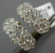 Estate Wide 1.90ct Diamond 14kt White And Yellow Gold 3d 4 Flower Clip On Earrings