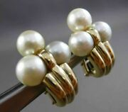 Estate Large 14kt Yellow Gold Classic Aaa South Sea Pearl Clip On Earrings 2954