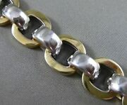 Estate Wide And Extra Long 14kt White And Yellow Gold 3d Circular Link Bracelet