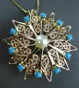 Antique Large Aaa Turquoise And Pearl 14kt Yellow Gold Flower Pin Pendant 23609