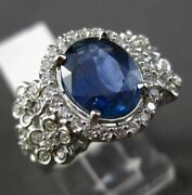 Antique Large 3.55ct Diamond And Sapphire 14kt White Gold Floral Engagement Ring