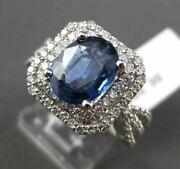Estate 3.03ct Diamond And Aaa Sapphire 14kt White Gold Hexagon Engagement Ring