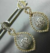 Estate .88ct Diamond 18kt White And Yellow Gold Flower Infinity Tear Drop Earrings