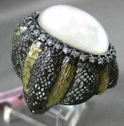 Antique Large .90ct Diamond And Moonstone 14kt Black And Yellow Gold 3d Fligree Ring