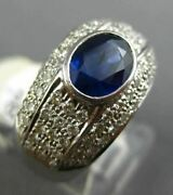 Estate Wide 3.15ct Diamond And Sapphire 14kt White Gold Oval Bezel Engagement Ring