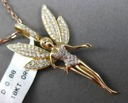 Estate Large .88ct Diamond 18kt Rose Gold 3d Tinker Bell Fairy Pendant And Chain