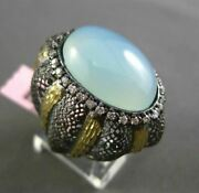 Antique Large Diamond And Aaa Blue Agate 14kt Black And Yellow Gold 3d Filigree Ring