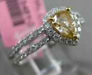 Estate .89ct White And Fancy Yellow Diamond 18kt Gold 3d Pear Halo Engagement Ring