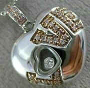 Estate Large .25ct White And Pink Diamond 18kt 2 Tone Gold 3d Heart Love Pendant