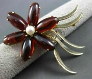 Antique Large 15.0ct Aaa Garnet And Pearl 14kt Yellow Gold Flower Brooch Pin 2968