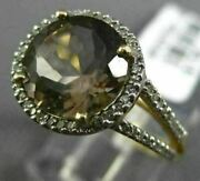 Estate 3.51ct Diamond And Aaa Smoky Topaz 14kt Yellow Gold Halo Engagement Ring