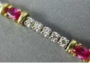 Estate Long 2.78ct Diamond And Aaa Ruby 14kt 2 Tone Gold 8 Stone Tennis Bracelet