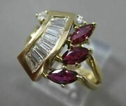 Antique Large 1.45ct Diamond And Aaa Ruby 14kt Yellow Gold Cocktail Ring 22045