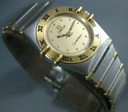 Estate Omega Constellation 18k Yellow Gold And Steel Round Face Ladies Watch 2074
