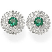 Russian Style Jewelry Emerald And Diamond Earrings 18k Solid Gold E929.