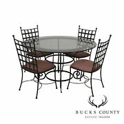 Charleston Forge Etrusche Iron Round Glass Top Dining Table + 4 Chairs Set