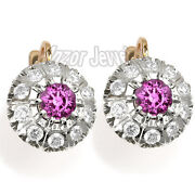 Russian Style Pink And White Sapphire Earrings In 14k Rose And White Gold 5.20 Cwt