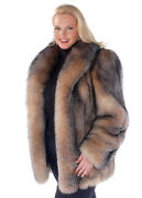 Womenand039s Plus Size Real Fox Fur Jacket For Women - Crystal Fox