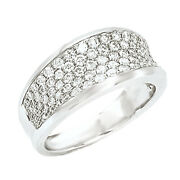 14kt White Gold And Pave Diamond Cigar Band Design Wide Ring Pave New 1 Ct Concave