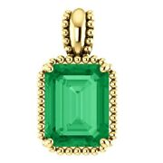 Stunning Solid Gold 14k Solitaire Beaded Natural Colombian Emerald Pendant