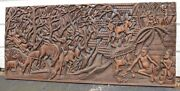 Huge 6and039 Antique Hand Carved Wood Figural African Wall Relief Sculpture Plaque