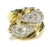 Large Womenand039s 2.0ct Diamond Cocktail Engagement Ring 14k Yellow Gold Heavy 16.1g