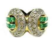Estate Womens Cocktail Lucky Cc Ring 0.75ct Emerald Diamond Ring 14k Yellow Gold