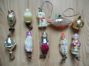 Set 10 Christmas Tree Decoration. Ussr Glass Vintage Old New Year Russia Soviet