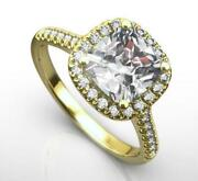Diamond Halo Ring Side Stones Si2 D 1.8 Carats 4 Prongs 14 Kt Yellow Gold Women