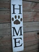 Wood Front Door Sign Home Paw Print Porch Vertical 33 White Farmhouse Handmade