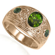 Menand039s 14k Solid Rose Gold Green Tourmaline Three-stones Ring 7 To 14 R2009