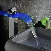 R Led Bathroom Waterfall Spout Sink Faucet Brass Glass Chrome Finish Mixer Tap