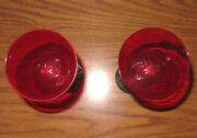 Pair Vtg Ruby Glass Goblet With Silver Footed Stem Glass International Silver Co