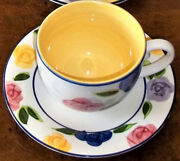 Rare Find Mint/perfect Flora Yellow Coffee Cup And Saucer By Tabletops Unlimited