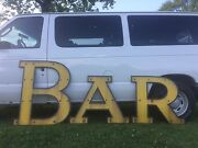 Large 1950and039s Yellow And Black Porcelain Bar Sign Beer Whiskey Liquor