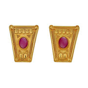 Lalaounis Shield Style Ruby Cabochon Clip-on Earrings 18k Yellow Gold