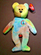 Ty Beanie Babies Peace The Bear 1996 - Many Errors On Tags - Retired
