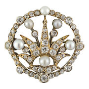 Estate Diamond And Pearl Pin / Brooch 14 Karat Yellow Gold And Sterling Silver