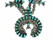 Native American Sterling Silver Turquoise Petit Point Squash Blossom Necklace