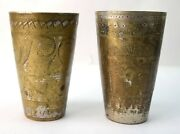Vintage Brass Handcrafted Indian Lassi And Milk Glass Nice Collectible. G66-448 Us