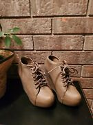 Charlotte Russe Women's Tan Nude Lace Up Shoes Wedges Size 6