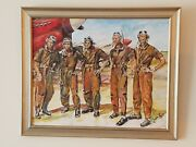 Tuskegee Airmen Original, Signed Acrylic Framed Painting 23x19