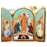 Resurrection Of Christ Wooden Icon Triptych 7 1/4x10