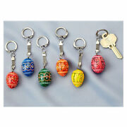 Set Of 6 Ukrainian Wooden Hand Paint Pysanky Small Key Chains Assorted Colors
