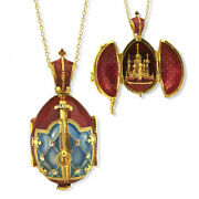 Open Up Locket Jeweled Ornament Pendant Egg St Basil Cathedral Cross 1 1/2