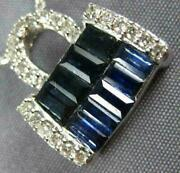Antique Large 1.42ct Diamond And Aaa Sapphire 14k White Gold 3d Purse Pendant 315