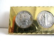 2=1+1 So Big Sale 2 Silver Dimes1916 - 1945 Of Money Clip +1 Old Cent Us Coin